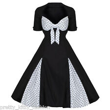 rockabilly années 50 blanches noires pois style vintage PIN UP SWING Robe Bal