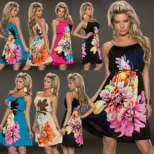 Sexy Women Multi Flowers Ladies Summer Beach Midi Maxi Dress Size 6 8 10 12 Top