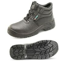 CHUKKA SAFETY WORK BOOT LEATHER STEEL TOE CAP CLICK BLACK MENS/LADIES SIZES 3-13