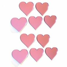 Packs of Pink Tinted Heart Mirrors (Crafting & Decorative 3mm Acrylic Mirrors)