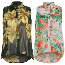 Womens Multi Floral Collared Button Plus Size Sleeveless Chiffon Blouse Tops8-26