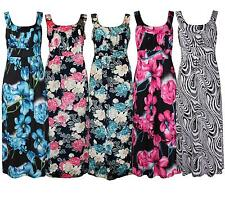 New Ladies Plus Size Tropical Floral Printed Sleeveless Long Maxi Dresses 14-28
