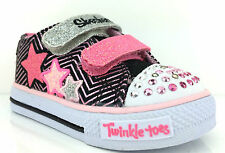 Skechers Girls Twinkle Toes -Multi- Light Up Shoes Black/Pink -10249N/BKPK-