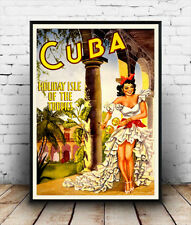 Cuba holiday isle : Old Travel Poster reproduction