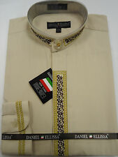 Mens Nehru Collarless Banded Collar Beige with Gold Thread Dress Shirt DS3111C