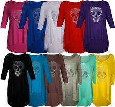 Womens Diamante Skull Head Plus Size Dip Hem ¾ Sleeve Scoop Neck Tops 14-28