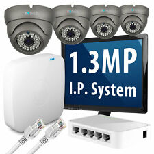 4 x 1.3 Megapixel Nightvision HD 960p 25fps Realtime IP Camera 4 CH P2P CCTV Kit