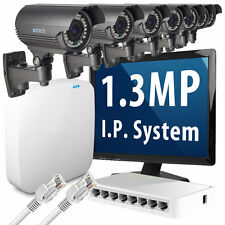 7 x 1.3 Megapixel HD 960p 25fps Realtime Optical Zoom IP Camera 8 CH CCTV System