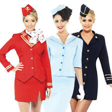 Air Hostess Costume Ladies Flight Attendant Cabin Crew Womens Fancy Dress Outfit