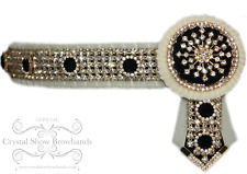 """BNWT Cream Black gold pony cob horse browband Crystal Show Browbands 1.25"""" wide"""