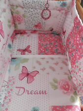NEW SHABBY AND CHIC PATCHWORK B/FLIES FLOWERS CRIB COT OR COT BED  BEDDING SET
