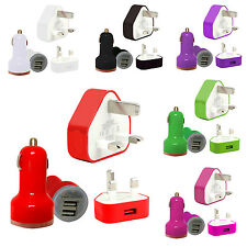 CE COLOUR 3 PIN UK MAINS USB CHARGER+DUAL BULLET FOR SAMSUNG GALAXY ACE PLUS S75