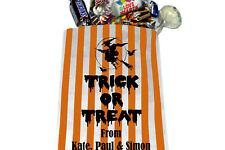 PERSONALISED Trick or Treat Halloween Sweet Bags Orange Striped Halloween Treat