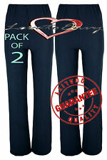 Ladies Ribbed STRETCH Bootleg Trousers (2 PAIRS PACK) In NAVY Size 8-26