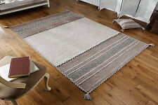 KILIM Beige Cotton & Chenille Handwoven DHURRIE Rug Runner Cushion S - L -30%OFF