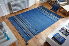 BLUE KILIM Cotton & Chenille Handwoven Rug Runner Cushion S - Large Size 30%OFF