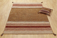 RUST BEIGE Cotton KILIM Handwoven Rug Runner Cushion S - Large Size 30%OFF