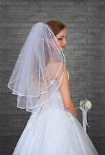 2 Tier Womens Ivory/White Wedding Bridal Elbow Satin Edge Veil  With Comb 28""