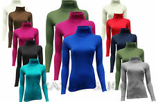 LADIES RIBBED POLO ROLL NECK LONG SLEEVE CASUAL TOP T-SHIRT JUMPERS  S/M , M/L