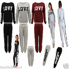 Womens Ladies Love Print Jogging Bottoms Sweat Pants Tracksuit Lounge wear Set