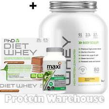 PhD Nutrition Diet Whey 2kg + MAXINUTRITION THERMOBOL + DIET WHEY BARS BBE 02/16
