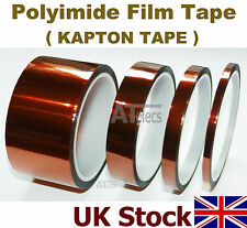 Polymide Film Tape (Kapton) 33M length, self adhesive, heat resistant - UK Stock