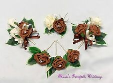WEDDING FLOWERS BUTTONHOLE CORSAGE PACKAGE CHOCOLATE BROWN ROSE DIAMANTE CRYSTAL