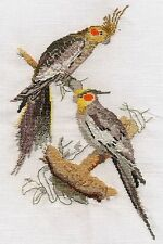 Cockatiels counted cross stitch kit or chart 14s aida