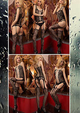 UK Women Sexy Fishnet Open Crotch Body Stocking Rose Bodysuit Nightwear Lingerie
