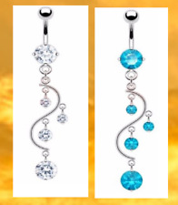 Surgical Steel Vine Belly Navel Rings Bar Barbell Body Piercing Clear/Turquoise