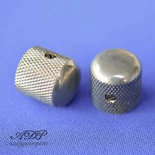 2xBOUTONS CHROME AGED TELE DOME KNOBS 18x18mm SplitShaft6mm SmallGrip Soft RELIC