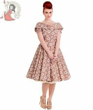 HELL BUNNY 50s CINDY retro FLORAL prom DRESS polka dot BEIGE