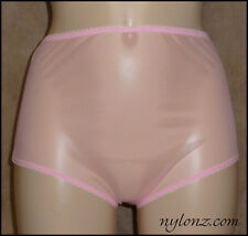 Vintage Style Completely Sheer Transparent Nylon FULL CUT Panties PINK