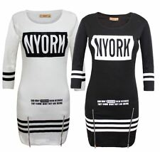Ladies Women Nyork Motif Zip Stretchable Stripe Tunic Short Black Dress Top 8-14