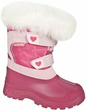 TRESPASS FROST GIRLS KIDS SNOW WINTER PINK BOOTS WATERPROOF GERBERA HEART PINK
