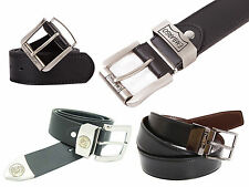 Mens Embargo Designer Leather Buckle Belt Reversible Black Brown Belt S-5XL New