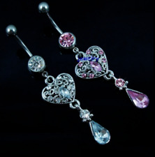 CZ Crystal Gem Blue Pink Heart Hollow Dangle Belly Button Navel Ring Bar UK Sell