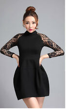 Women's Lace Sleeve Bud Style Pleats Dress