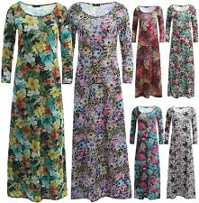 New Womens Multi Floral Prints Scoop Neck 3/4 Sleeve Flare Swing Maxi Dress 8-26