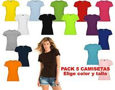 Pack 5 camisetas blancas color 100% algodon lisas Roly Mujer Jamaica