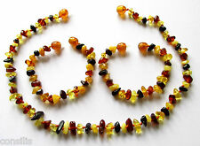 Genuine Baltic amber teething necklace or anklet bracelet, multi natural beads