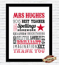 NEW! Personalised Bespoke Teacher A4 Word Art Print Last Day of School GIFT
