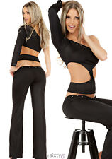 2 Teiler Pant und Shirt Party Disco Club Outfit Strass Sexy Beachparty S M L