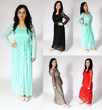 Ladies Maxi Dress Full Lace Jilbab Chiffon Abaya Net Hijab Kaftan Islamic Party