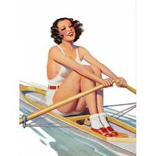 NEW! Retro Pinup Girl Brunette Rowing A Row Boat Vintage Poster Wall Art Decor