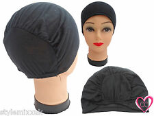 Ladies Black PADDED Hair Bonnet Bun Cap Hijab Head Under Scarf Hair Cover Cap