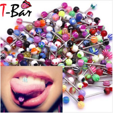 1 to 100 Surgical Steel Tongue Piercing Tongue Bar Bright UV Body Jewelry UK