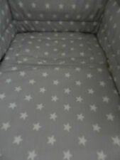 NEW GREY STARS 100% COTTON- CRIB, COT, SPACESAVER OR COTBED AND MORE