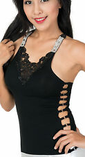 Womens Lace/Rhinestone Cotton Racerback Dressy Clubwear Top Party Tank