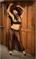 Women's Sexy 4pc Belly Dancer Harem Girl Gypsy Black & Gold Halloween Costume